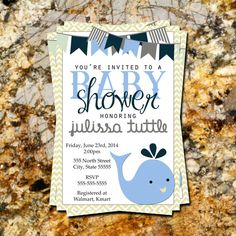 DIGITAL FILE  Whale Chevron Gray Light Blue by indulgemyheart #baby #shower #invitation #party #whale #nautical #blue #boy #download #print #gray #chevron