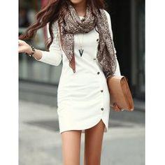 White Side Button Sheath Dress