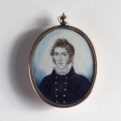 China Trade Portrait Miniature of a Naval Officer, Circa 1810-20, Possibly by Foeiqua - Watercolor on ivory, 2 1/4 x 1 7'/8 inches, in a rose gilt case with oval aperture on reverse