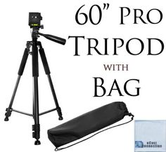 "Basic Tripod on Amazon Prime for $17.99  60"" Pro Series Professional Camera Tripod for Canon, Nikon, Sony, Samsung, Olympus, Panasonic & Pentax + eCost Microfiber Cloth"