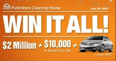 PCH Win It All with Publishers Clearing House Dream Life Prize Sweepstakes 2018. Win PCH $2 Million Cash, $10,000 a Month for Life and a Brand New Car with Giveaway No.8800...
