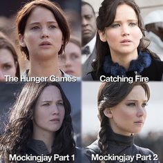 The hair evolution of Katniss Everdeen. Obviously brown in the first film, darker in the second, and then lighter again in the last Dark brown hair The Hunger Games, Hunger Games Fandom, Hunger Games Catching Fire, Hunger Games Trilogy, Katniss Hair, Katniss And Peeta, Katniss Everdeen Hair, Suzanne Collins, Mockingjay