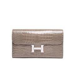 Hermes Gris Tourterelle Shiny Alligator Constance Clutch Wallet