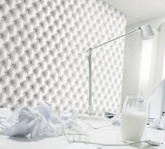 White tracing-paper tufted leather wallpaper by Koziel Made in France 48€/roll