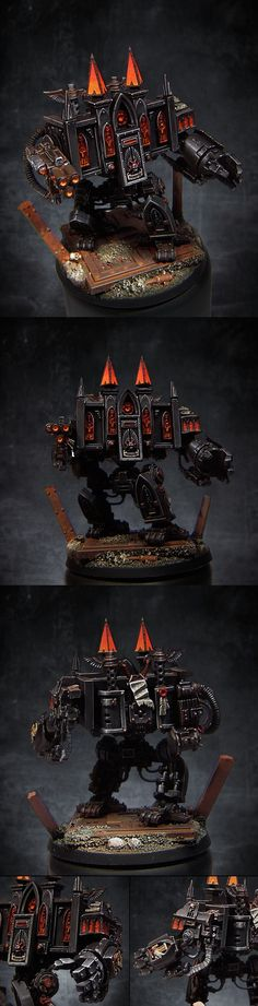 40k - Litany of Fire, Black Templars Venerable Dreadnought Warhammer 40k...Such a #Great #JOB  I will train to be able to paint this good in the future.