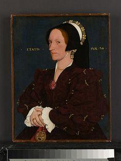 Margaret Wyatt,age 34, (1506-1543 ?) sister of Sir Thomas Wyatt, favorite companion of Anne Boleyn,by Hans Holbein