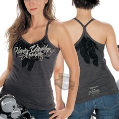 R518627180 - Harley-Davidson® Womens Chief String Racerback Charcoal Sleeveless Tank - Barnett Harley-Davidson®