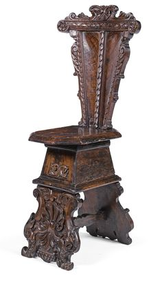 An Italian carved walnut sgabello, Florentine late Century with a curved tapering back the edges carved with foliage, the solid octagonal seat and trestle supports carved with scallopshells, with an inventory label inscribed in black ink Tudor Decor, Renaissance Furniture, Baroque Furniture, Antique Chairs, Wooden Chairs, Style Retro, Italian Renaissance, Ancient Artifacts, Eclectic Decor