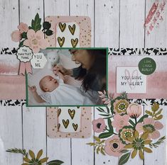 You and Me - Kaisercraft - Fleur Collection Scrapbook Layouts, Scrapbook Pages, Scrapbooking, Arts And Crafts, Paper Crafts, Card Crafts, Baby Girl Scrapbook, Baby Boy Newborn, Baby Photos