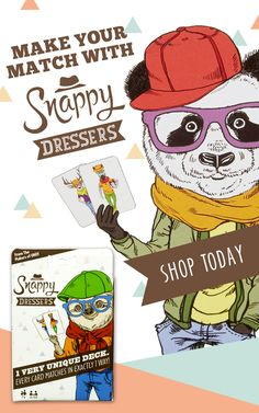 Perfect for family game nights, Snappy Dressers is the fun, addictive card game from the makers of UNO. Snappy Dressers cards show quirky and delightful animal characters dressed in the snappiest of outfits! Players try to identify a match, such as types of animal, items of clothing, or the gifts in the characters' hands. You can play ten different games—all rooted in how fast you can spot a match! Buy now.