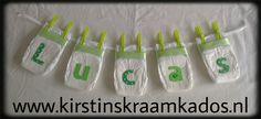 Luier naamslinger groen/Diaper Name Garland Green