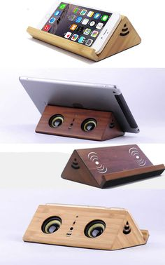Wooden Wireless Sound Amplifier Magnetic Induction Portable Speaker Wooden Bluetooth Speaker Mobile Display Stand Wood speaker with retro style mini Eco-friendly walnut material slant induction, Bamboo Portable Speaker Cool Office Supplies, Cute Notebooks, Unusual Gifts, Pen Holders, Office Gifts, Retro Style, Speakers, Eco Friendly, Bluetooth