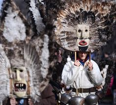 "Bulgarian dancers known as ""kukeri"" perform a ritual dance during the International Festival of the Masquerade Games in Pernik near the capital Sofia."