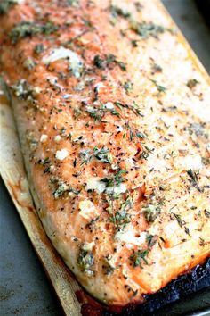 Cedar-planked salmon with horseradish-chive sauce.  There is not a single word in that that I dislike.