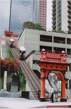 Angel's Flight Railway Los Angeles, The bottom was right next to the Grand Central  Market.
