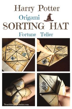 Harry Potter Origami Sorting Hat Fortune Teller: Try it and see if you're; just and loyal like Hufflepuff, wise and of a ready mind like Ravenclaw, cunning like Slytherin, or brave and daring like Gryffindor. via @preciouskitty23