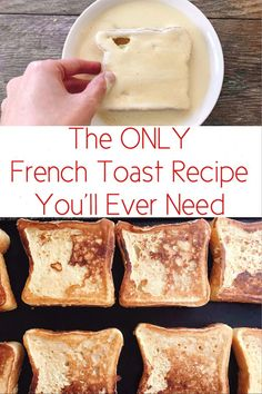 The perfect french toast recipe that is easy to make and cooks perfectly every time. Crisp and crunchy on the outside and soft on the inside! and Drink breakfast french toast Amazingly Perfect French Toast - The Mommy Mouse Clubhouse What's For Breakfast, Breakfast Dishes, Breakfast Ideas With Eggs, Breakfast Smoothies, Yummy Easy Breakfast, Vegan Breakfast, Best Breakfast Foods, Toddler Breakfast Ideas, Grits Breakfast