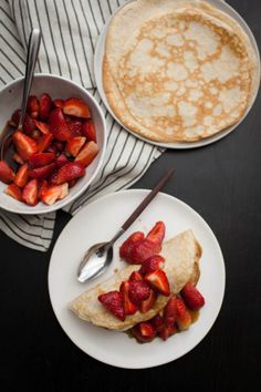 Naturally Ella | Rye Crepes with Sorghum-Bourbon Strawberries + Ice Cream
