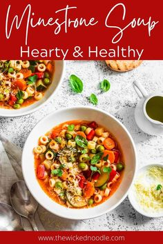 Italian Minestrone Soup takes just 15 minutes prep time and is loaded with healthy vegetables and a rich, flavorful broth. It also freezes well! Ham And Cabbage Soup, Slow Cooker Potato Soup, Small Pasta, Instant Pot Dinner Recipes, Chowder Recipes, Homemade Soup, Healthy Vegetables, Instant Pot Pressure Cooker, Lunch Recipes