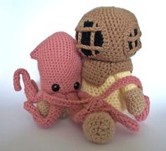 Deep Sea Diver AND Squid - Pattern on Etsy