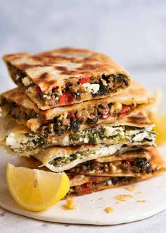 Stack of Gozleme with Spinach and Feta, spiced Lamb or Beef filling - fav spinach/feta, add lemon & motz cheese, white flatbread Meat Recipes, Vegetarian Recipes, Cooking Recipes, Healthy Recipes, Lamb Mince Recipes, Minced Beef Recipes, Healthy Dishes, Chicken Recipes, Turkish Recipes