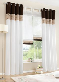 2x140x225cm Sheer Curtain Window Curtains Eyelet Voile 3 Splicing Coffe Color A | eBay