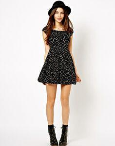 asos skater dress with a scoop neckline - polkadots black