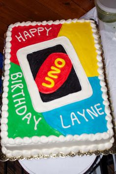 UNO Birthday Party, Close up of Uno Cake