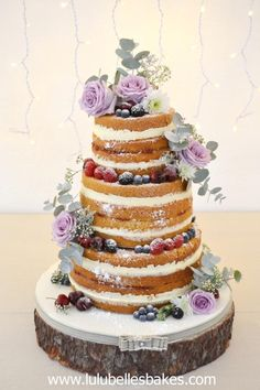 Naked wedding cake by Lulubelle's Bakes