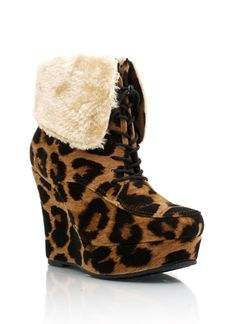 fur cuff leopard wedge booties $19.95
