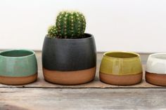 Dipped Succulent Planter with Raw Clay Bottom