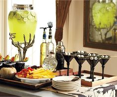 Halloween Bar setup. I LOVE that drink dispenser! I just researched...it's from Pottery Barn