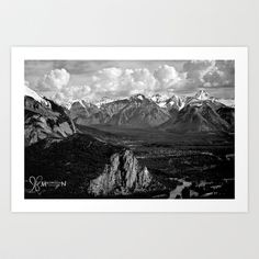 """""""Village of Mountains"""" Art Print by Macmillen Photography - $43.68 Looking down on #banff #alberta #canada #banffgondola #macmillenphotography #rockymountains #rockies #mountains"""