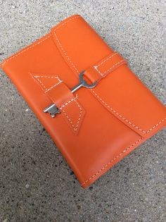 Reserved for laura Bright orange refillable leather journal /