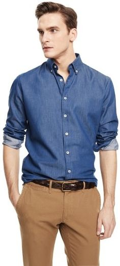 $59, Navy Chambray Long Sleeve Shirt: Mango Outlet Slim Fit Chambray Shirt. Sold by Mango. Click for more info: https://lookastic.com/men/shop_items/66325/redirect