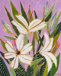 lulie wallace:  Happy Easter my readers!! Occasionally, I am invited to paint at ourchurch here in Charleston on Sundays during the service and today, Easter, was one of those days! Here is my Easter lilies from this morning! Blessings to you on this sweet day!