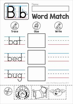 FREE Phonics Letter of the Week B. Word match cut and paste