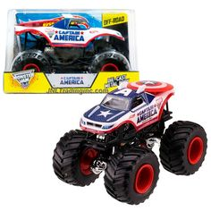 """Hot Wheels Year 2014 Monster Jam 1:24 Scale Die Cast Official Monster Truck Series - Marvel CAPTAIN AMERICA (CHV12) with Monster Tires, Working Suspension and 4 Wheel Steering (Dimension - 7"""" L x 5-1/2"""" W x 4-1/2"""" H)"""