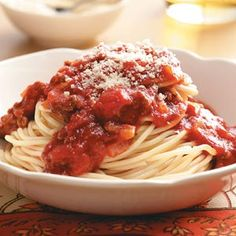 So-Easy Spaghetti Sauce Recipe -This traditional, thick pasta sauce is a cinch to prepare. It has a pleasantly mild flavor and goes with any kind of cooked pasta. If you like, use ground turkey or chicken instead of the beef.—Cathy Johnson, Somerset, Pennsylvania