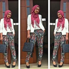 A wearable simple hijab fashion style! I'm a new fan of Rani Hatta's style! hip problems pants