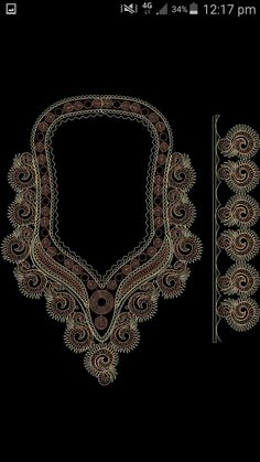 Embroidery Neck Designs, Gold Embroidery, African Fashion, Models, Couture, Diamond, Bracelets, Free, Jewelry