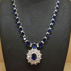 @azardiamonds. I see skies of blue and clouds of white ... And I think to myself what a wonderful world! #diamonds #sapphire #jewelry #round #necklace http://amzn.to/2tpv7IA