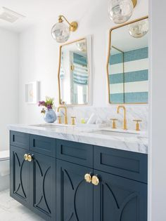 Home Interior Design .Home Interior Design Bathroom Renos, Bathroom Interior, Small Bathroom, Bathroom Cabinets, Colorful Bathroom, Bathroom Ideas, Bathroom Renovations, Brass Bathroom, Bathroom Colors