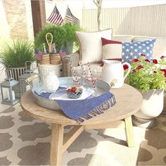 Happy 4th of July!! Absolutely love this set up by the talented @interiorsbyzdesign... - Interior Design Ideas, Interior Decor and Designs, Home Design Inspiration, Room Design Ideas, Interior Decorating, Furniture And Accessories