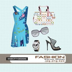 Fashion Digital Download Vector Art Collage by StarcityDesigns, $3.75