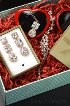 Valentine gifts Rose gold blush pink by thefabbridaljewelry