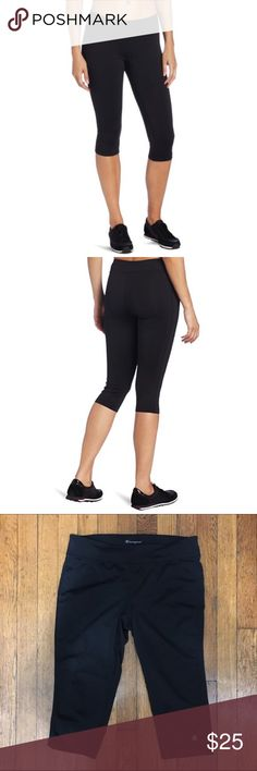 Champion work out capris Perfect for all your athletic activities, these fitted knee pants feature a tight fit through the hips & thighs, Double Dry technology to keep you cool & dry, stretch that moves with you and a great fit for a flattering look and comfortable wear. 17 in. inseam. Gently worn. Champion Pants Capris