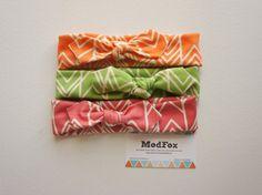 Infant Girl / Toddler Headband  3 Pack Ikat Ziggy Chevron Raspberry Pink, Orange, Green by ModFox