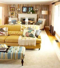 Living Room Yellow Sofa yellow couch. {designer profile: sally wheat interiors} http
