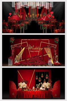 European red gold wedding effect map Wedding Backdrop Design, Wedding Stage Design, Wedding Logos, Wedding Cards, Stage Decorations, Wedding Decorations, European Fashion, European Style, Wedding Drawing